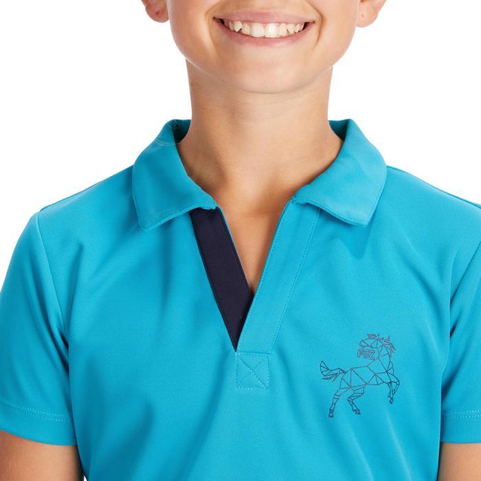 Polo manches courtes équitation enfant PL500 MESH turquoise et marine