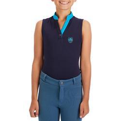 Camiseta sin mangas equitación niña DEB100 Azul marino y azul turquesa