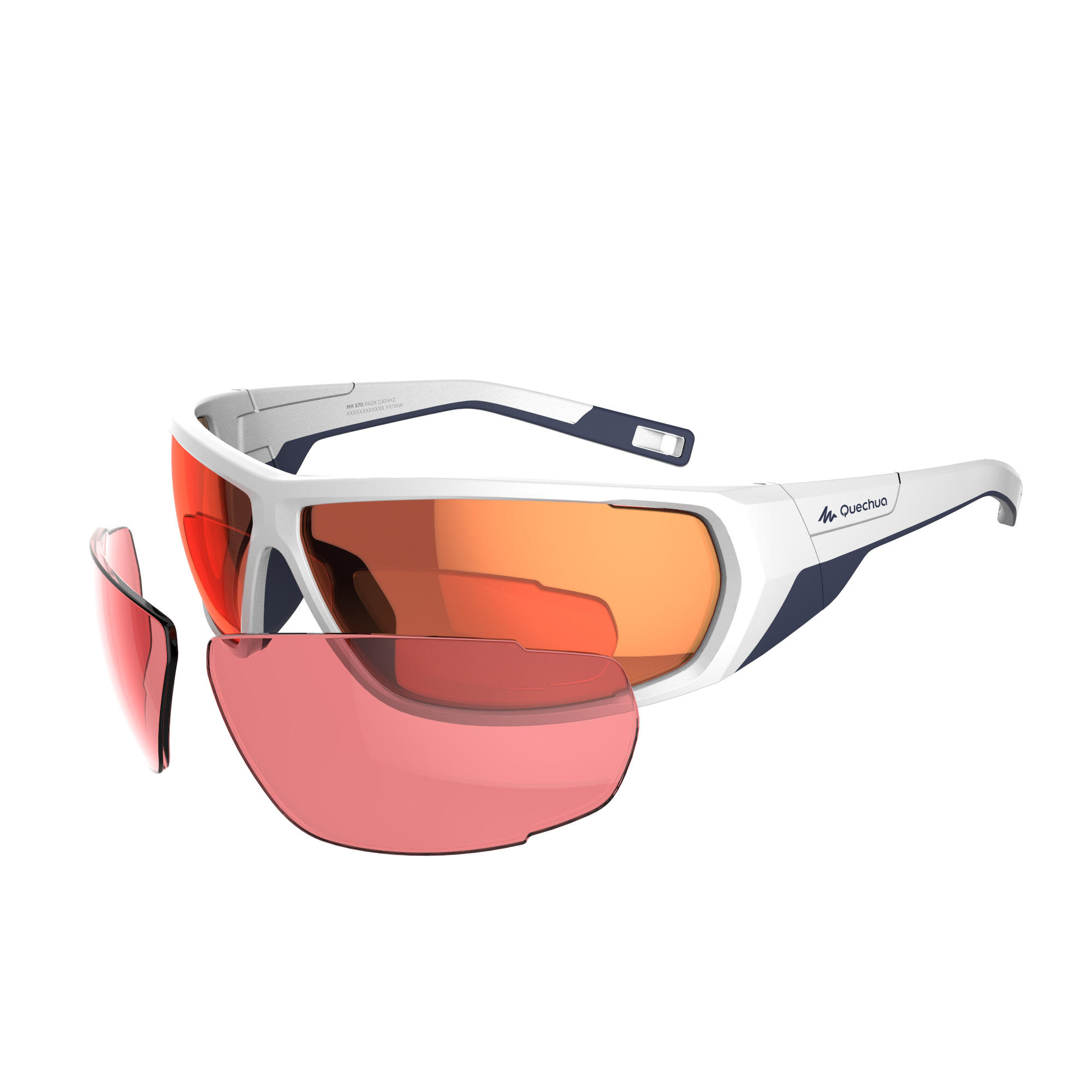 Quechua Wandelzonnebril voor volwassenen MH 570 wit/oranje - 2 verwisselbare glazen