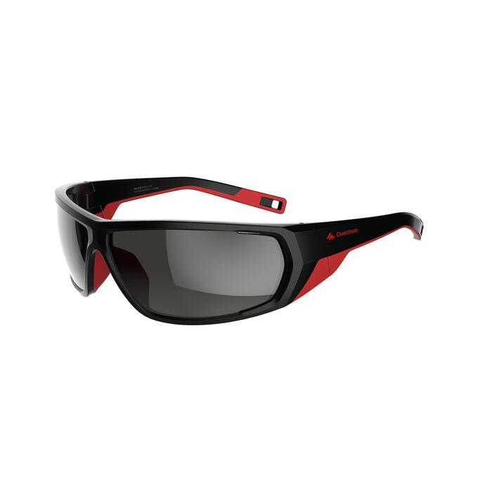 Sonnenbrille polarisierend Wandern MH570 Kategorie4 Erwachsene schwarz/rot