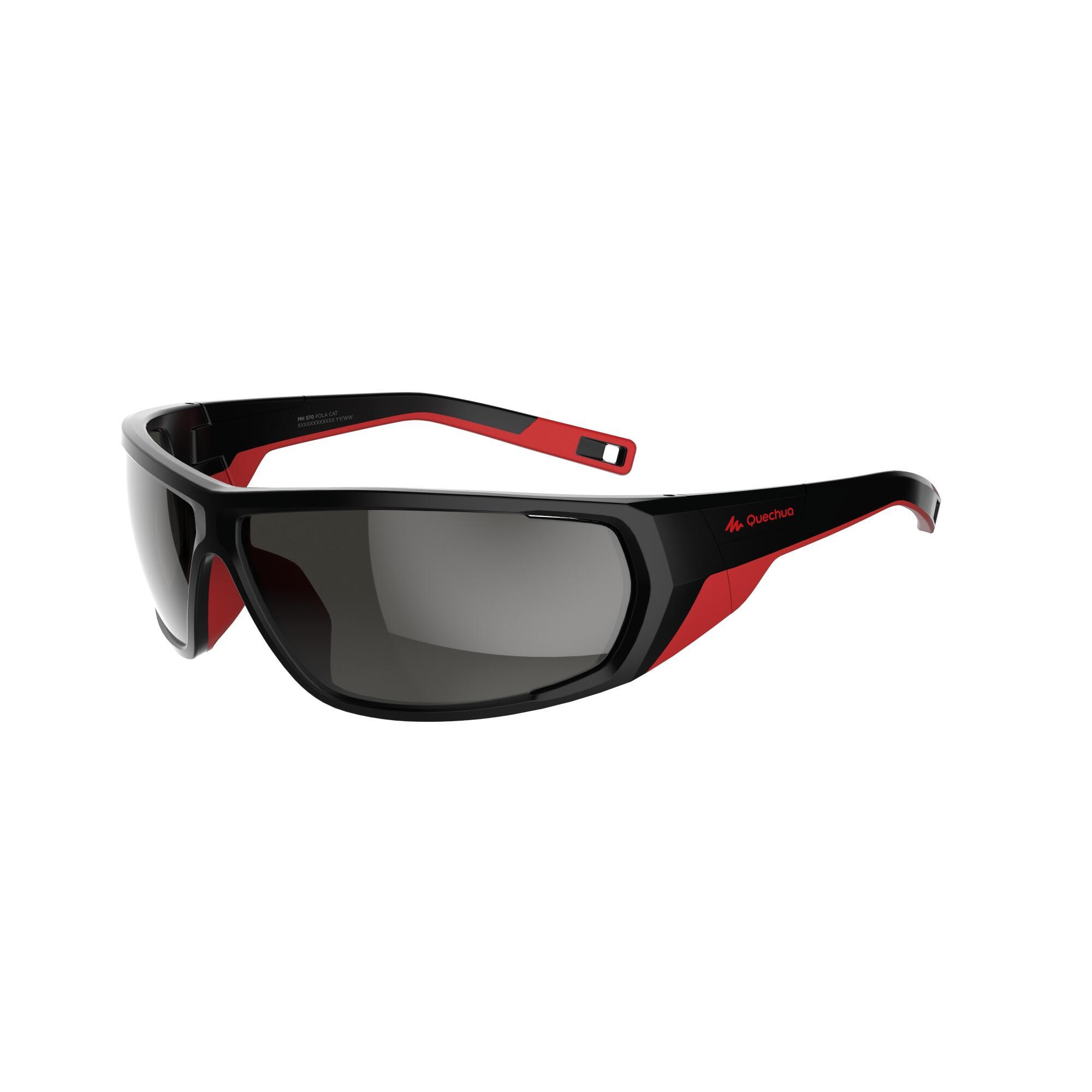 Quechua Wandelzonnebril MH570 zwart/rood polariserend categorie 4 kopen? Sport>Sportbrillen>Zonnebrillen met voordeel vind je hier