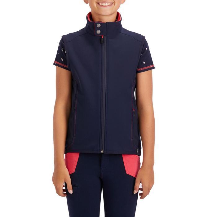 Bodywarmer 500 ruitersport meisjes marineblauw en roze