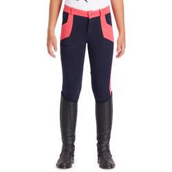 Rijbroek ruitersport meisjes BR120 blauw/roze