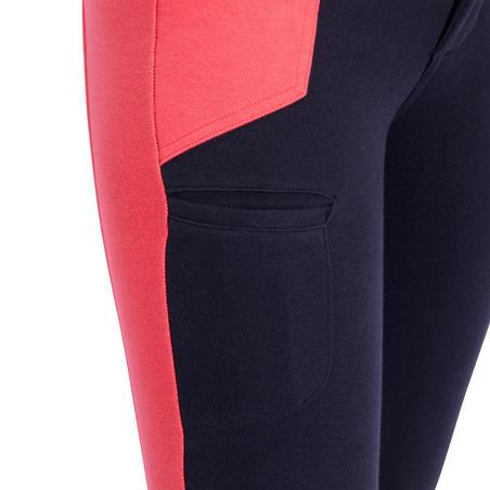 Pantalon équitation fille 120 marine et rose