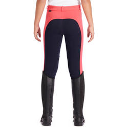 120 Girls' Horseback Riding Jodhpurs - Navy/Pink
