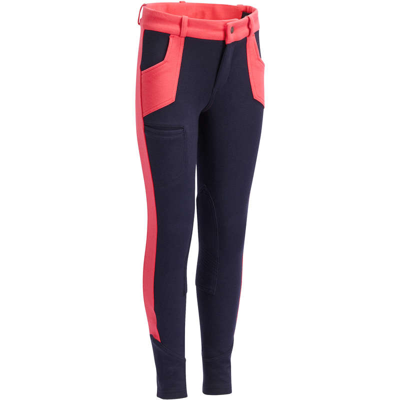 RIDING WEAR JUNIOR Horse Riding - 120 Jodhpurs - Navy/Pink FOUGANZA - Horse Riding Clothes