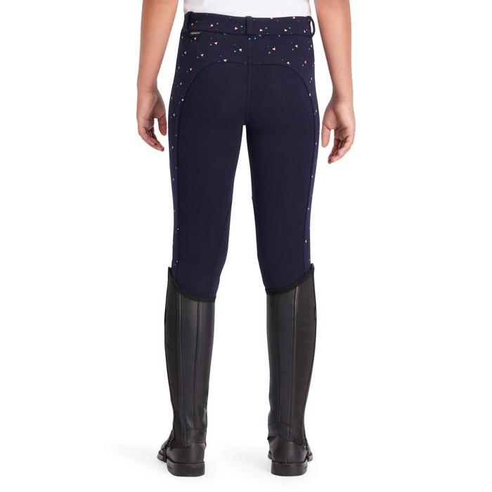 Pantalon équitation fille 120 PRINT marine à points rose