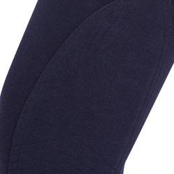 Paardrijbroek voor meisjes 120 Print marineblauw met roze stippen