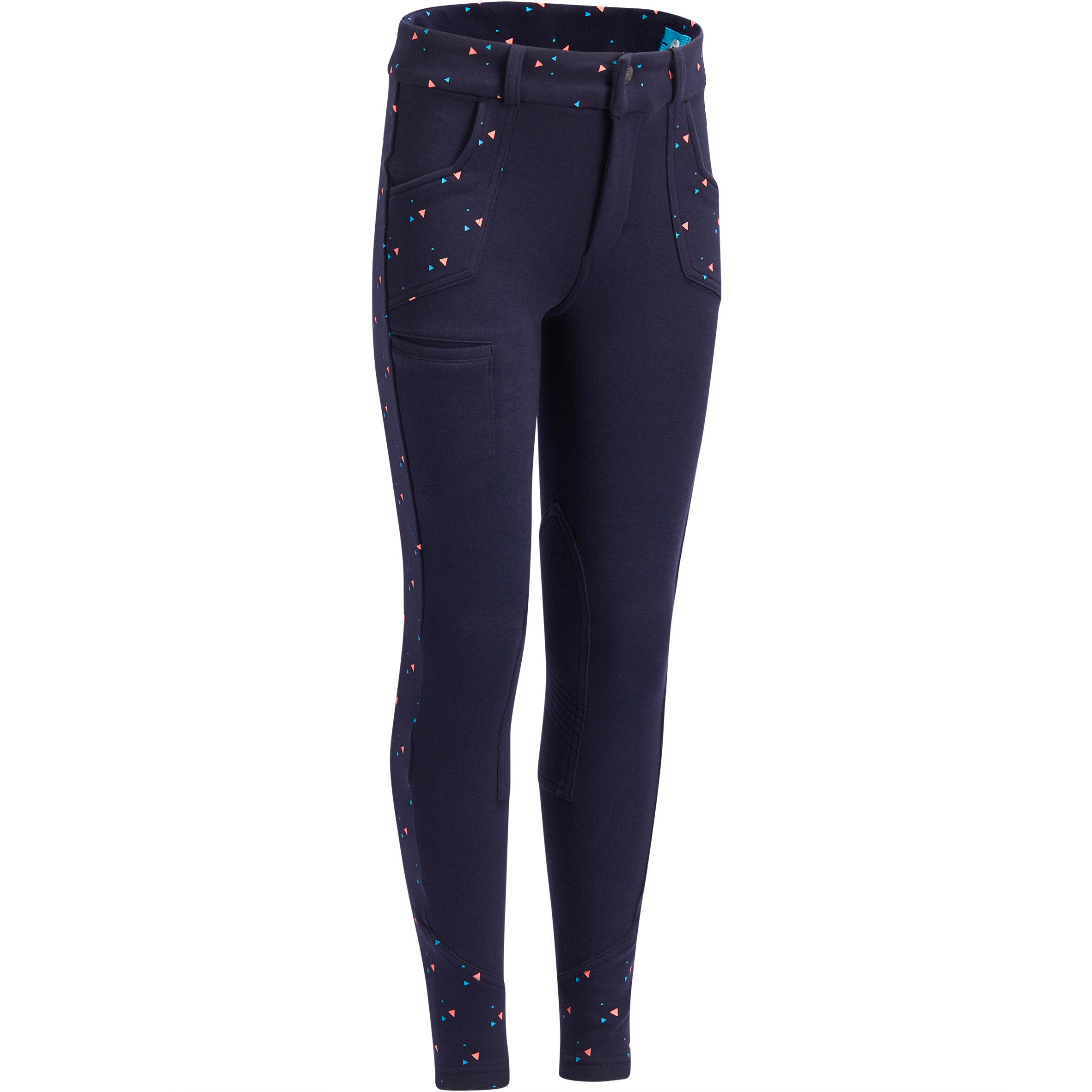 BR120 Print Girls' Horse Riding Jodhpurs - Navy/Pink Dots