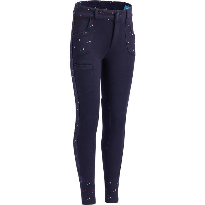 Pantalón equitación niña BR120 PRINT Azul marino con lunares rosa