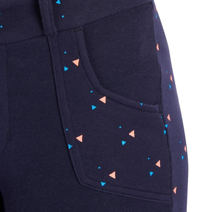 Reithose 120 Print Kinder marineblau mit rosa Punkten