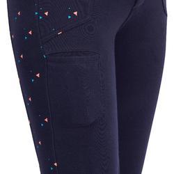 Pantalon équitation fille 120 PRINT marine à points rose