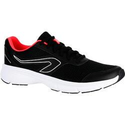 女性避震跑步運動鞋 Run - 黑色/珊瑚色