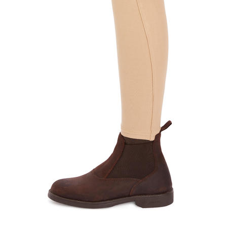 180 Fullseat Kids' Full Seat Horse Riding Jodhpurs - Beige/Brown