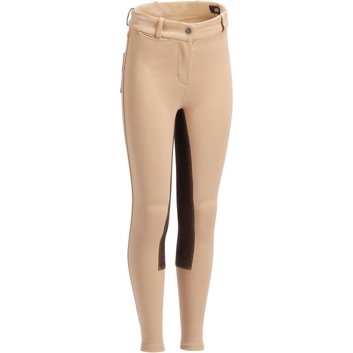 Pantalon fond de peau équitation enfant 180 FULLSEAT beige et marron