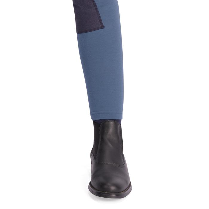 Pantalón equitación júnior 140 badanas gris azulado