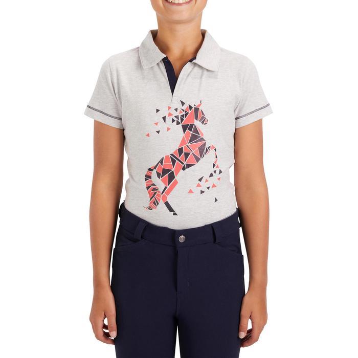 Reit-Poloshirt Kurzarm Kinder Mädchen graumeliert mit rosafarbenem Motiv