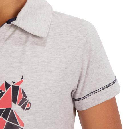 100 Girls' Short-Sleeved Horse Riding Polo - Mottled Grey/Pink Design