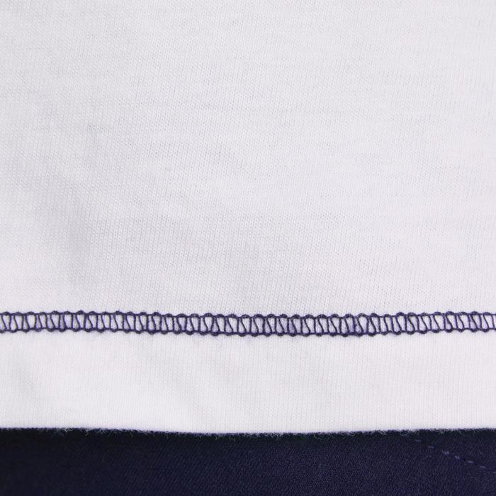 Polo manches courtes équitation enfant PL100 blanc motif bleu et turquoise