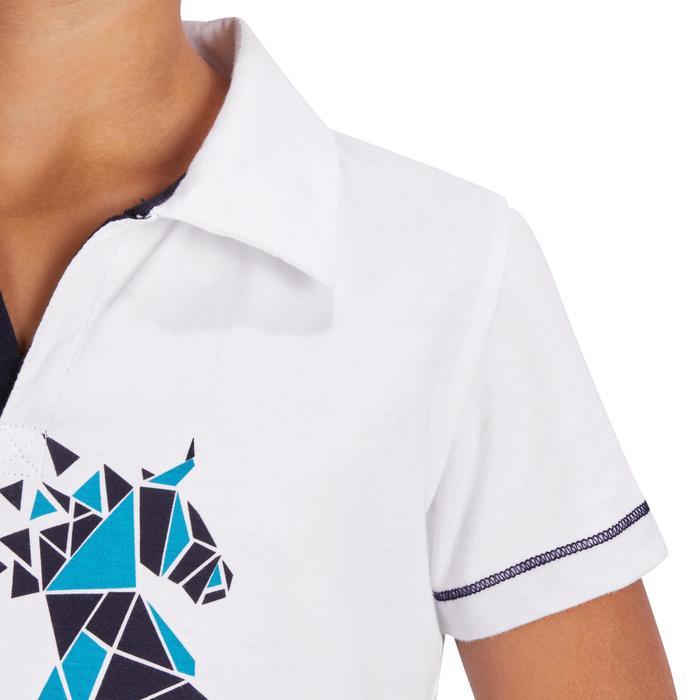Reit-Poloshirt Kurzarm PL100 Kinder weiß mit türkis-blauem Motiv
