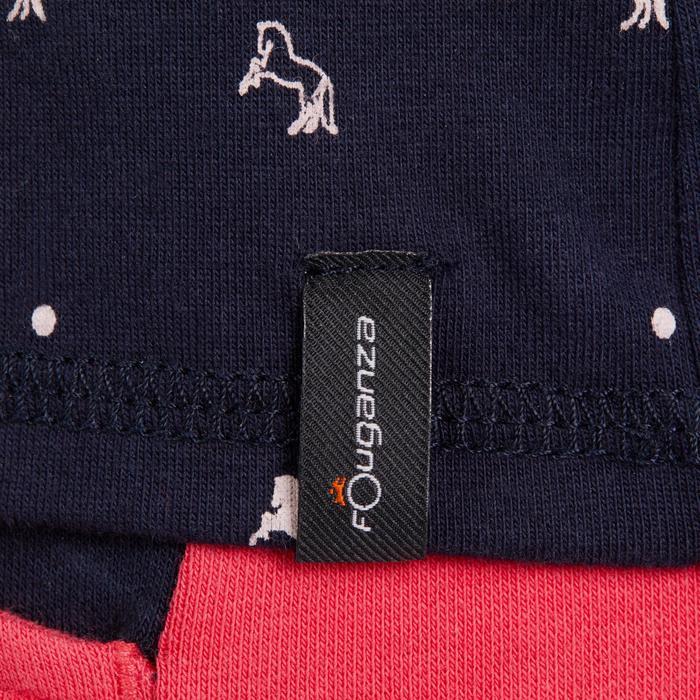 Girls' Horse Riding Short-Sleeved Polo Shirt 140 - Navy/Pink Designs