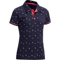140 Girls' Horse Riding Short-Sleeved Polo Shirt - Navy/White Motifs