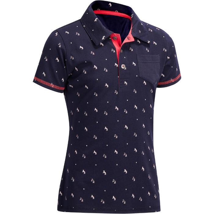 女童款馬術短袖Polo衫140-海軍藍/粉紅色圖案
