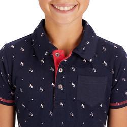 Polo met korte mouwen voor meisjes ruitersport 140 Girl marineblauw/roze patroon