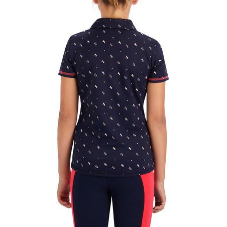 Kaus Polo Lengan Pendek Berkuda Anak Perempuan 140 - Desain Navy/Pink