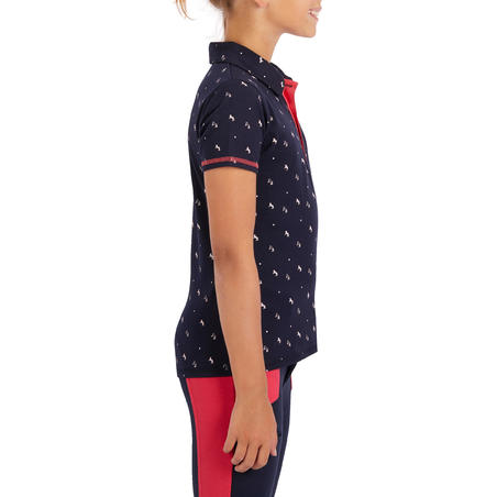 Girls' Horse Riding Short-Sleeved Polo Shirt 140 - Navy/Pink Designs