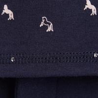 Polo manches courtes équitation junior 140 marine motifs rose– Fille