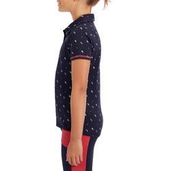 Reit-Poloshirt kurzarm 140 Mädchen marineblau mit weißen Motiven