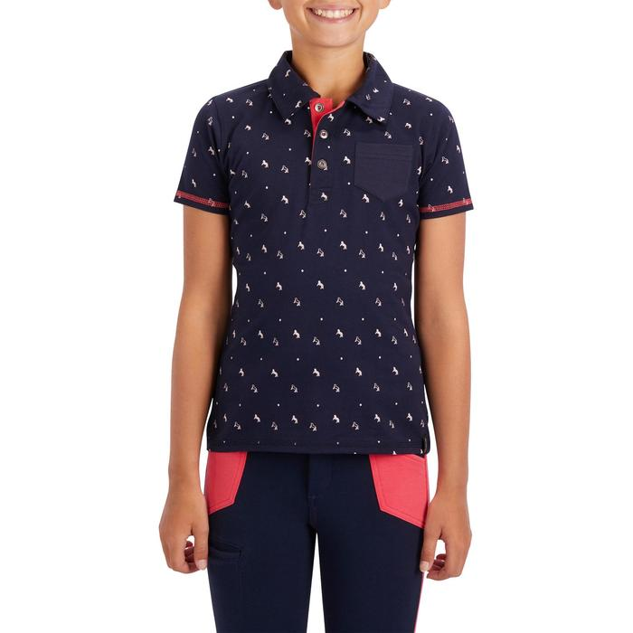 Polo manches courtes équitation fille 140 GIRL marine motifs rose