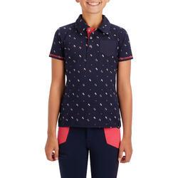 Polo met korte mouwen voor meisjes ruitersport 140 marineblauw met roze patroon