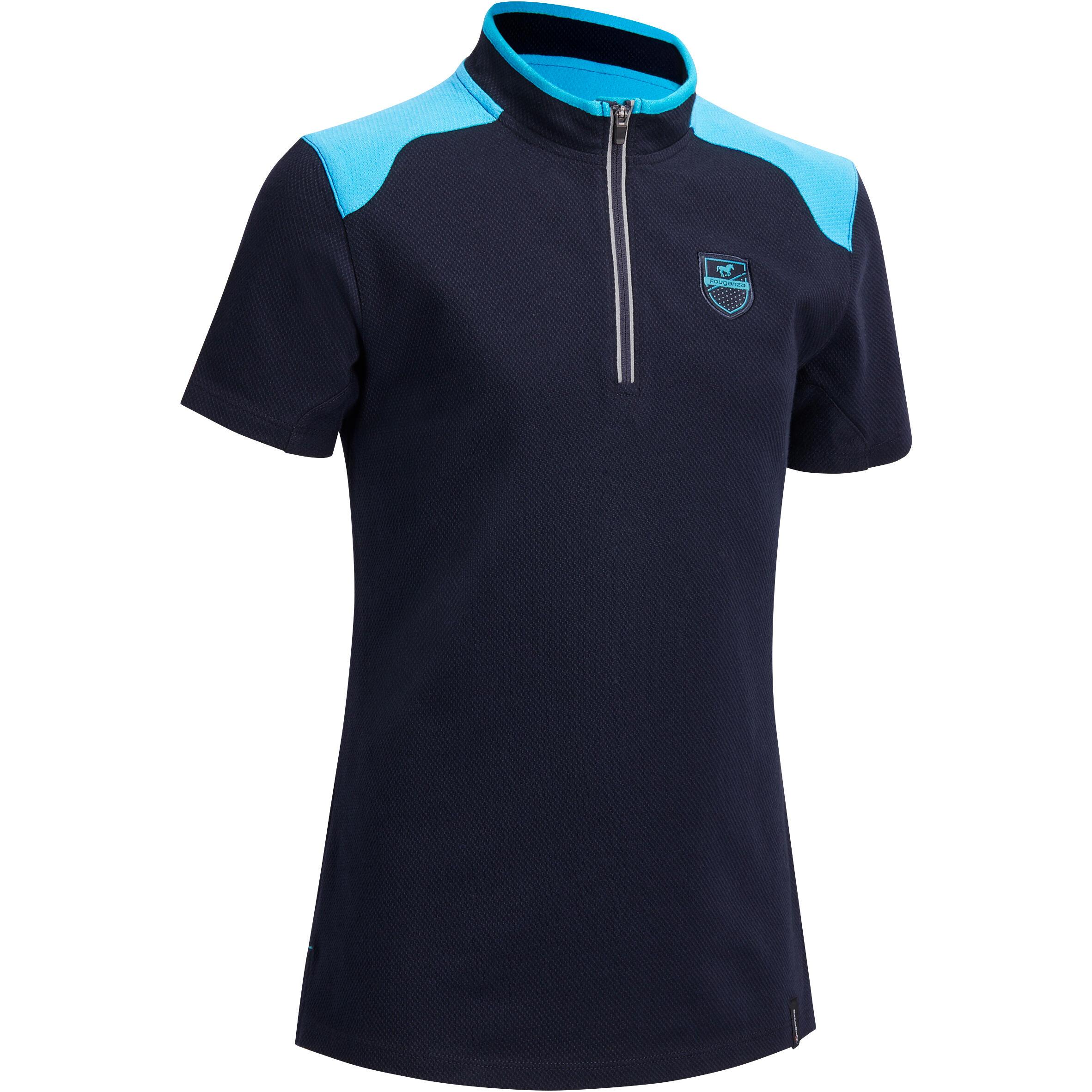 Fouganza Polo korte mouwen ruitersport meisjes PL500 marineblauw/turquoise