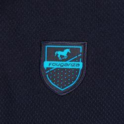 Polo manga corta equitación niña PL500 azul marino y turquesa