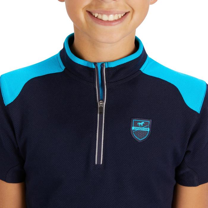Polo korte mouwen ruitersport meisjes PL500 marineblauw/turquoise