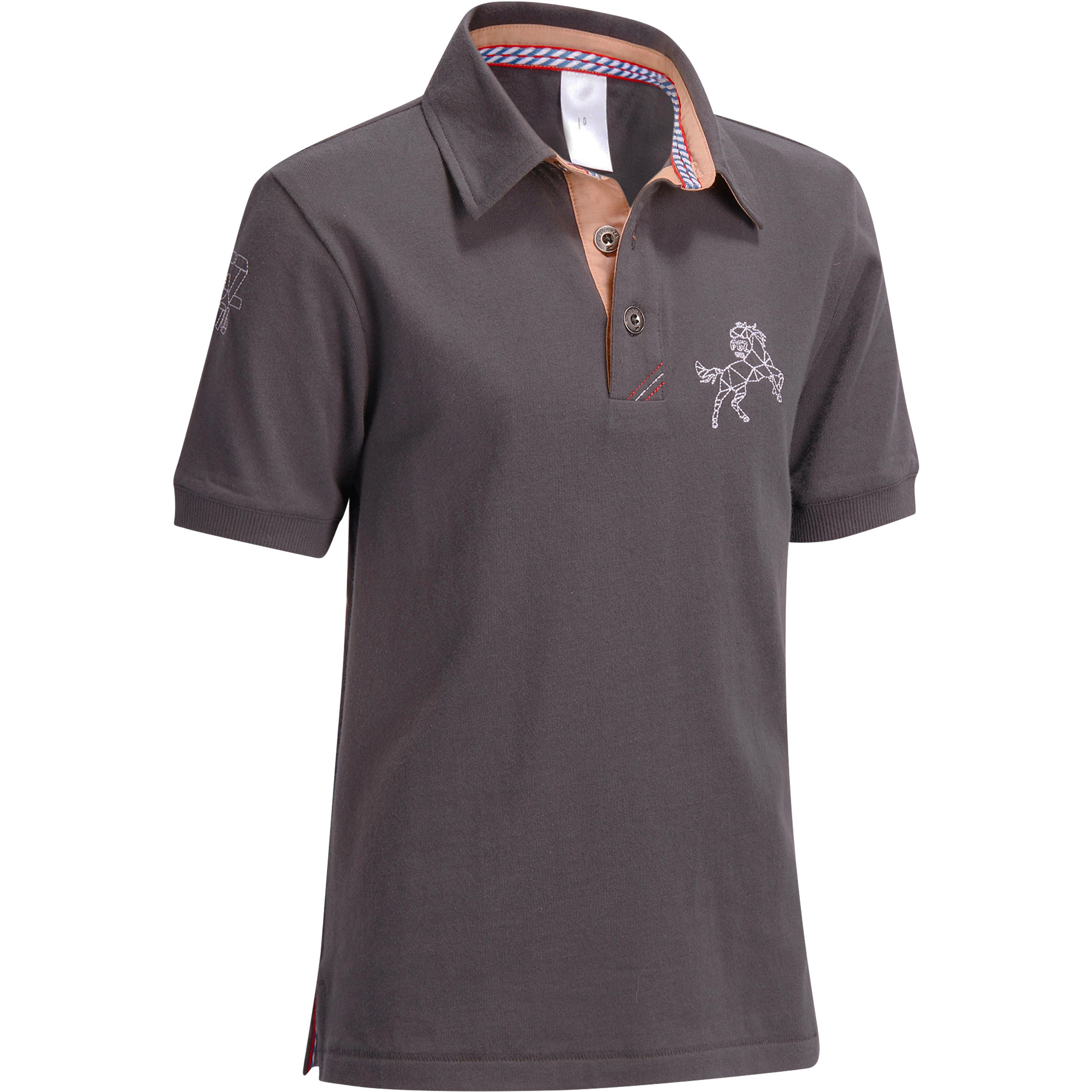 PL140 BOY Boys' Short-Sleeved Horse Riding Polo - Grey