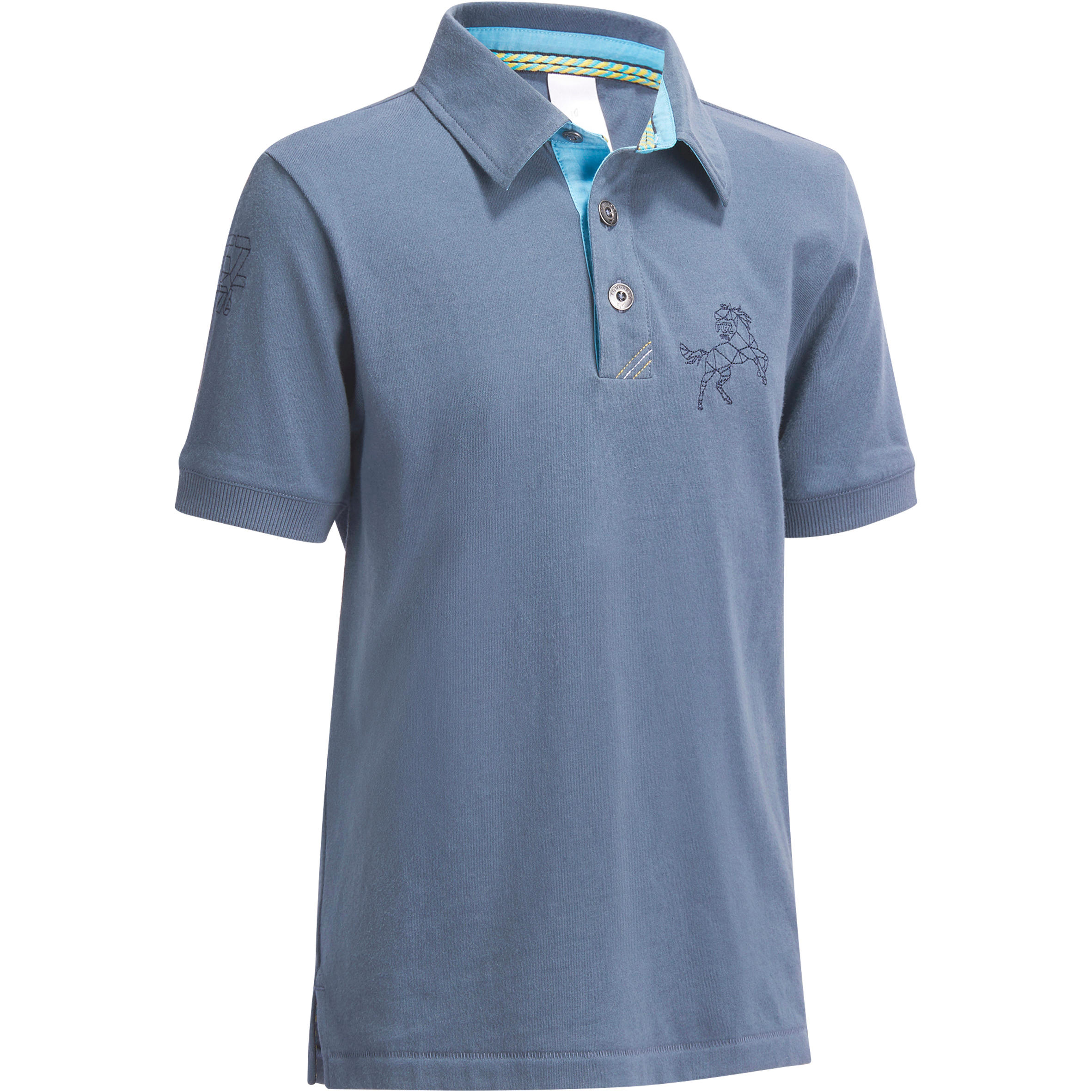 Fouganza Polo korte mouwen ruitersport jongens PL140 grijsblauw