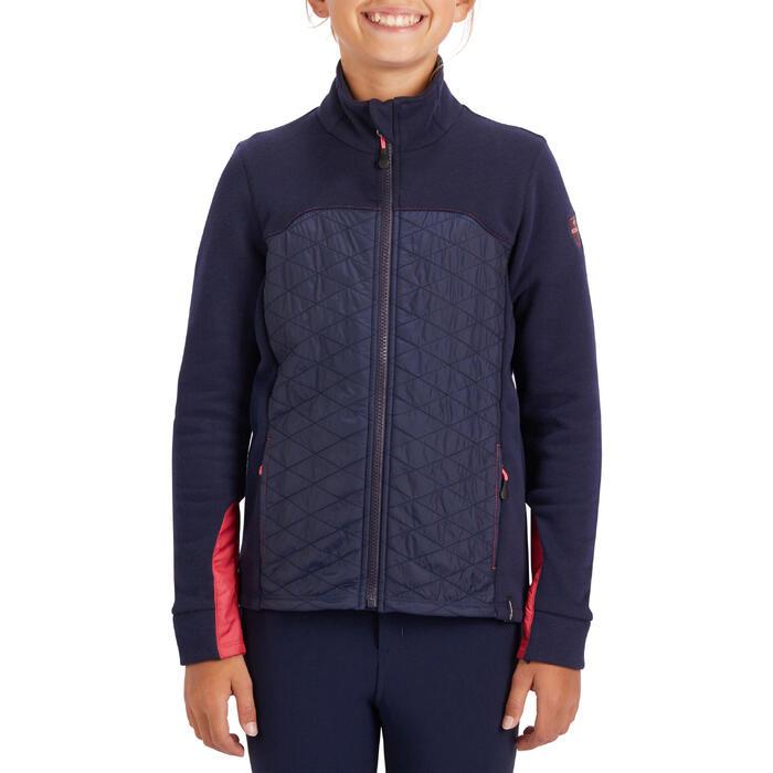 Sweat-shirt équitation enfant bi-matière 500 marine