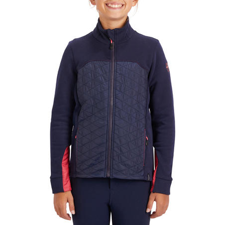 500 Kids' Two-Material Horseback Riding Sweater - Navy