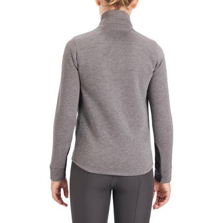 500 Children's Horse Riding Bi-Material Sweatshirt - Grey