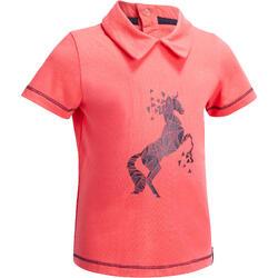 Polo met korte mouwen ruitersport voor kleuters PL100 roze