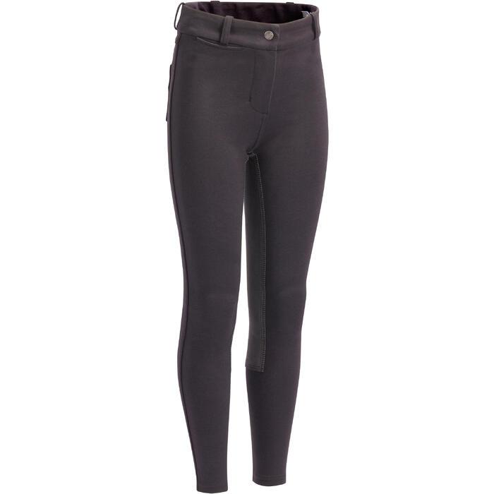 Pantalón badanas equitación niños 180 FULLSEAT negro y gris