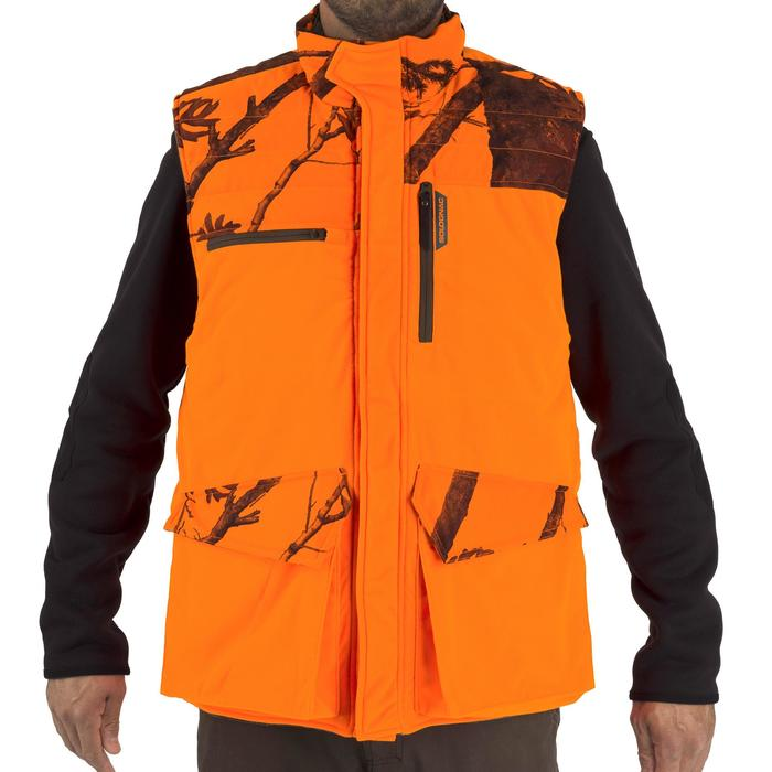 Gilet chasse chaud 500 camouflage fluo - 1253069
