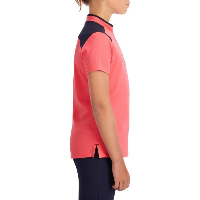 Polo korte mouwen ruitersport meisjes PL500 roze/marineblauw