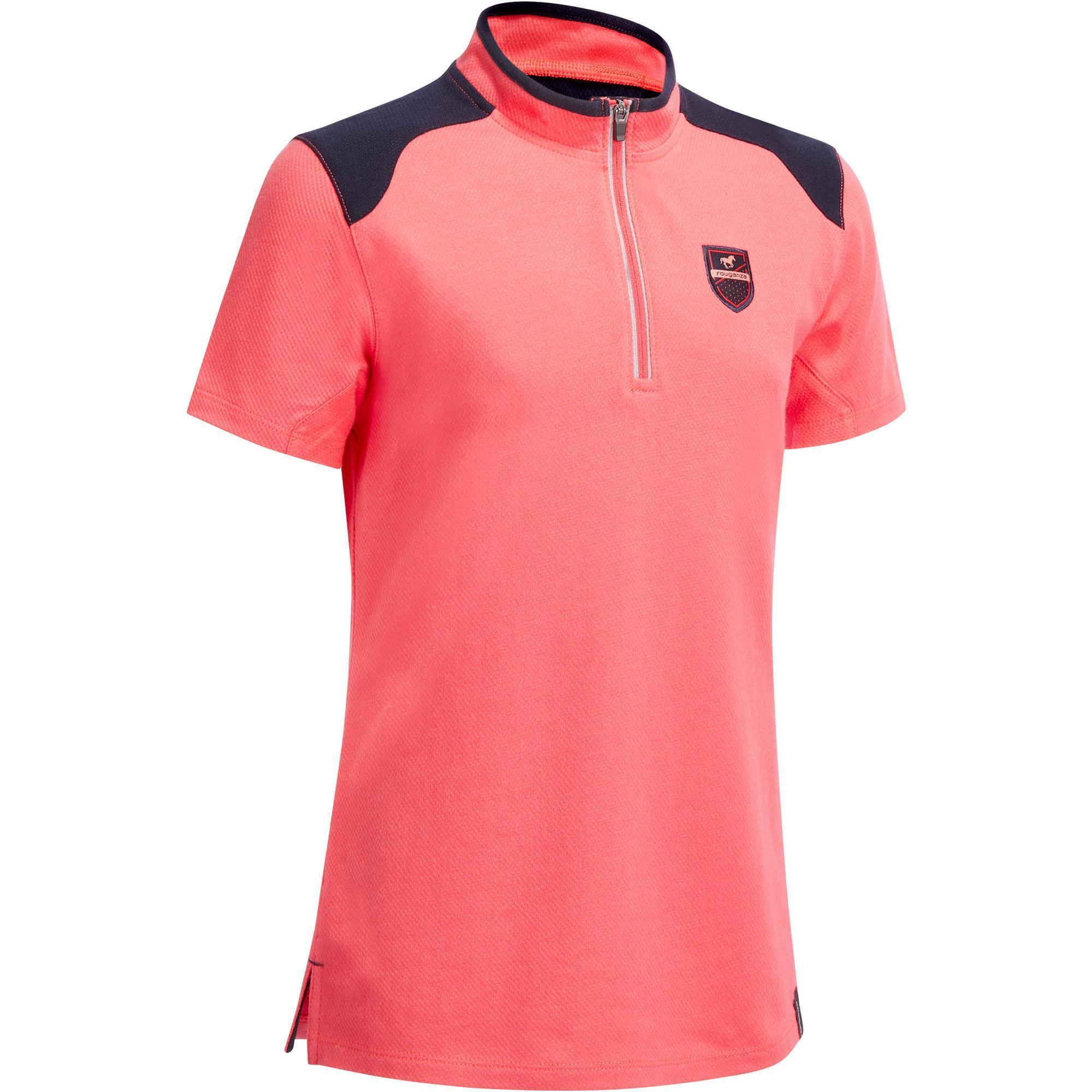 Fouganza Polo korte mouwen ruitersport meisjes PL500 roze/marineblauw