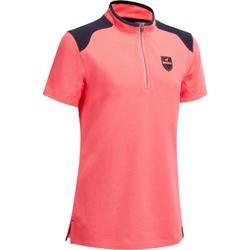 Reit-Poloshirt Kurzarm Mädchen rosa/marineblau