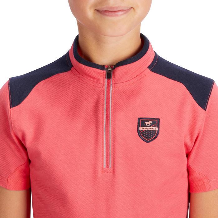 Polo korte mouwen ruitersport meisjes 500 roze/marineblauw
