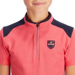 Polo manga corta equitación niña PL500 rosa y azul marino